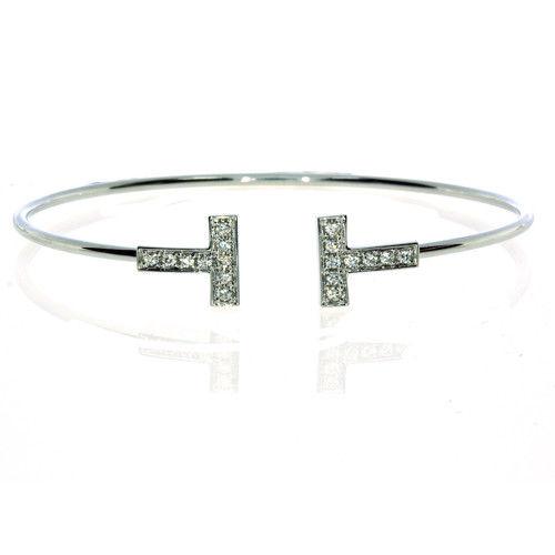 0.40ct Natural F Color Diamonds Bangle Bracele T Style 18K Solid Gold 7G