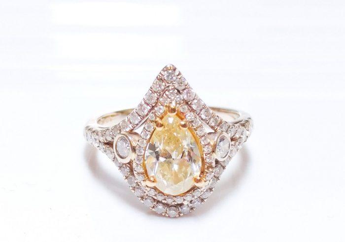 165ct Fancy Yellow Diamond Engagement Ring Hallo 18K White Gold SI1 Pear 253693729932 700x491 - 1.65ct Fancy Yellow Diamond Engagement Ring Hallo 18K White Gold SI1 Pear