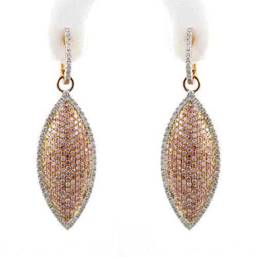 246ct Fancy Pink Diamonds Earrings 18K All Natural 10 Grams Real Rose Gold 263781428892 - 2.46ct Fancy Pink Diamonds Earrings 18K All Natural 10 Grams Real Rose Gold