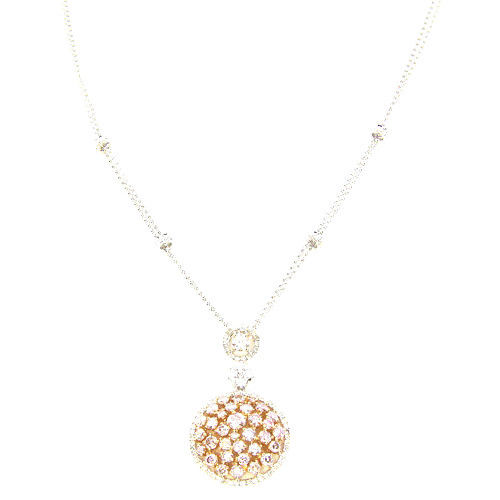 3.76ct Fancy Pink Diamonds Necklace 18K All Natural 7G Real Rose White Gold