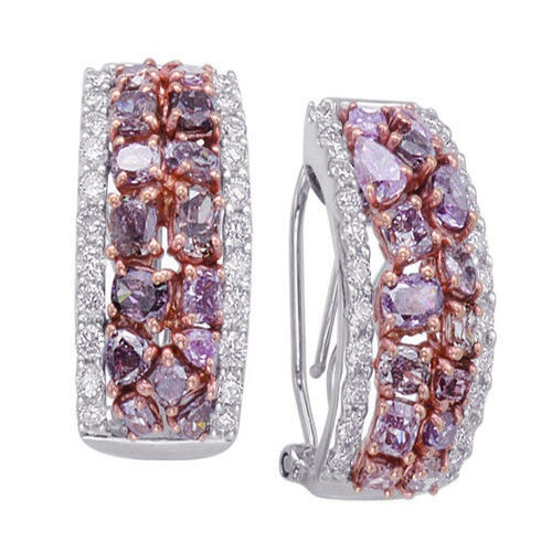5.85ct Fancy Pink Diamonds Earrings 18K All Natural 10 Grams Real Rose Gold