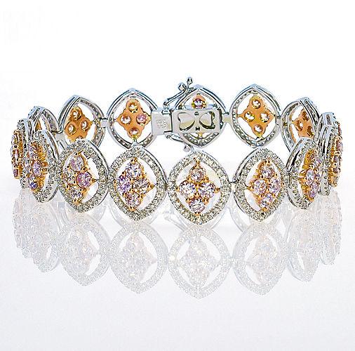ARGYLE Pink Diamonds Bracelet 936ct Natural Fancy Pink 18K 26 Grams Mix Color 253713569182 - ARGYLE Pink Diamonds – Bracelet 9.36ct Natural Fancy Pink 18K 26 Grams Mix Color