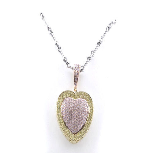 Real 073ct Natural Fancy Pink Diamonds Heart Pendant Necklace 18K Rose Gold 4G 253676205232 - Real 0.73ct Natural Fancy Pink Diamonds Heart Pendant Necklace 18K Rose Gold 4G