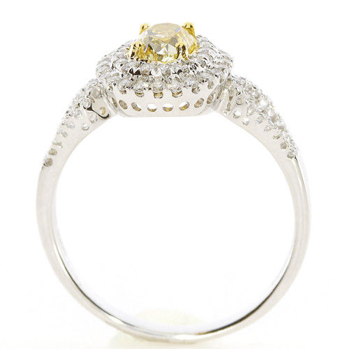 Real 085ct Natural Fancy Yellow Diamonds Engagement Ring 18K Solid Gold Oval 253693729992 3 - Real 0.85ct Natural Fancy Yellow Diamonds Engagement Ring 18K Solid Gold Oval