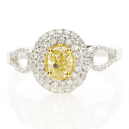 Real 085ct Natural Fancy Yellow Diamonds Engagement Ring 18K Solid Gold Oval 253693729992 - Real 0.85ct Natural Fancy Yellow Diamonds Engagement Ring 18K Solid Gold Oval