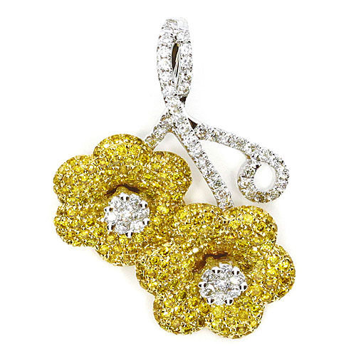 Real 129ct Natural Fancy Yellow Diamonds Pendant Necklace 18K Solid Gold Flower 253670742432 - Real 1.29ct Natural Fancy Yellow Diamonds Pendant Necklace 18K Solid Gold Flower