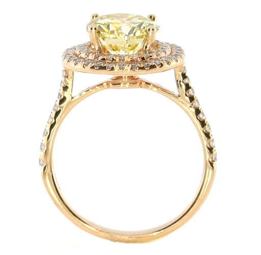 Real 251ct Natural Fancy Yellow Diamonds Engagement Ring 18K Solid Gold Round 263856000022 3 - Real 2.51ct Natural Fancy Yellow Diamonds Engagement Ring 18K Solid Gold Round