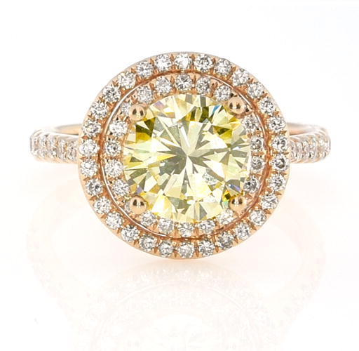 Real 251ct Natural Fancy Yellow Diamonds Engagement Ring 18K Solid Gold Round 263856000022 - Real 2.51ct Natural Fancy Yellow Diamonds Engagement Ring 18K Solid Gold Round
