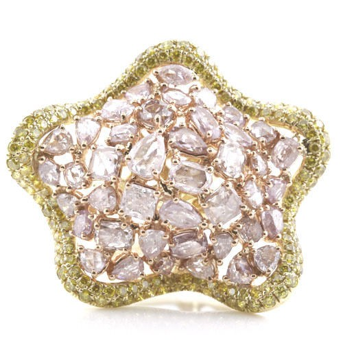 Real 750ct Natural Fancy Pink Diamonds Engagement Ring 18K Solid Gold 14G 253670740002 - Real 7.50ct Natural Fancy Pink Diamonds Engagement Ring 18K Solid Gold 14G