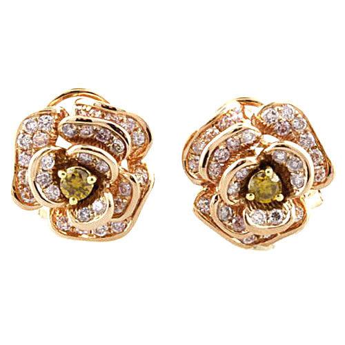 Real Fine 128ct Fancy Pink Diamonds Earrings 18K All Natural Stud Flowers Gold 263855969522 - Real Fine 1.28ct Fancy Pink Diamonds Earrings 18K All Natural Stud Flowers Gold