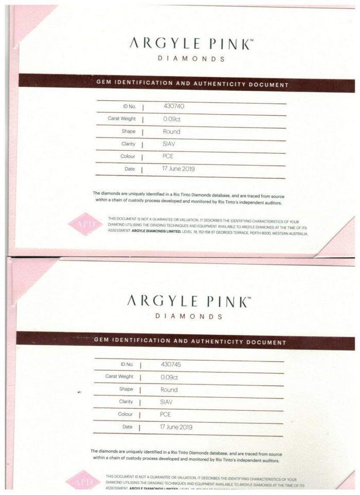 018ct Pink Diamonds Natural Matching Pair Pink Fancy PCE Color ARGYLE Rounds 264516041613 2 700x963 - 0.18ct Pink Diamonds - Natural Matching Pair Pink Fancy PCE Color ARGYLE Rounds