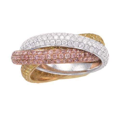 435ct Natural Fancy Pink Diamonds Engagement Ring 18K Solid Gold 7G three Rings 253670742413 - 4.35ct Natural Fancy Pink Diamonds Engagement Ring 18K Solid Gold 7G three Rings