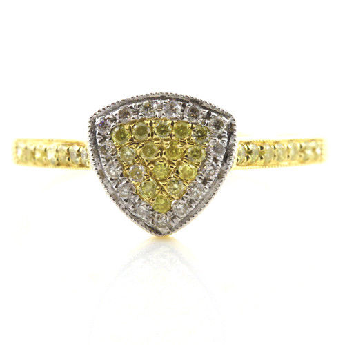Real 030ct Natural Fancy Yellow Diamonds Engagement Ring 18K Solid Gold 6G 263738748013 - Real 0.30ct Natural Fancy Yellow Diamonds Engagement Ring 18K Solid Gold 6G