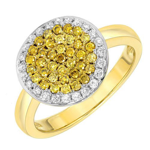 Real 056ct Natural Fancy Intense Yellow Diamonds Engagement Ring 18K Solid Gold 263738747913 - Real 0.56ct Natural Fancy Intense Yellow Diamonds Engagement Ring 18K Solid Gold