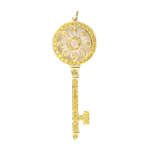 Real 105ct Natural Fancy Yellow Diamonds Pendant Necklace 18K Solid Gold Key 263738747963 - Real 1.05ct Natural Fancy Yellow Diamonds Pendant Necklace 18K Solid Gold Key
