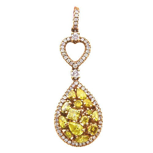 Real 2.00ct Natural Fancy Vivid Yellow Diamonds Pendant Necklace 18K Solid Gold