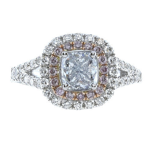 Real 201ct Natural Fancy Light Blue Pink Diamonds Engagement Ring GIA 18K SI1 263762585643 - Real 2.01ct Natural Fancy Light Blue & Pink Diamonds Engagement Ring GIA 18K SI1