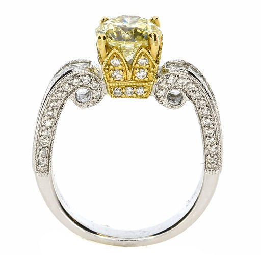 Real 2.14ct Natural Fancy Yellow Diamonds Engagement Ring 18K Solid Gold Round