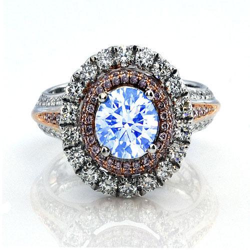 Real 223ct Natural Faint Light Blue Pink Diamonds Engagement Ring GIA 18K 253693729913 - Real 2.23ct Natural Faint Light Blue & Pink Diamonds Engagement Ring GIA 18K