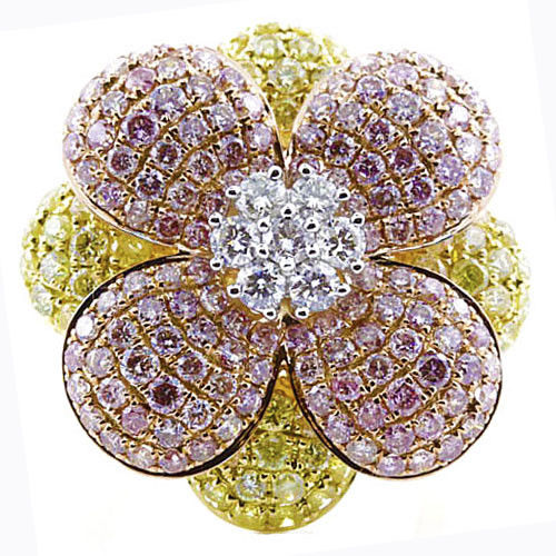 Real 2.25ct Natural Fancy Yellow & Pink Diamonds Engagement Ring 18K Solid Gold