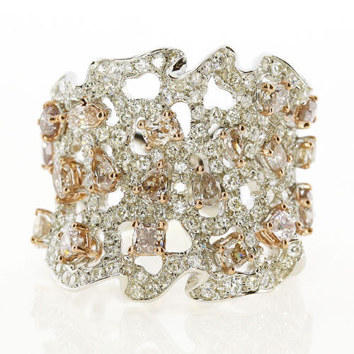 Real 3.01ct Natural Fancy Pink Diamonds Engagement Ring 18K Solid Gold 10G