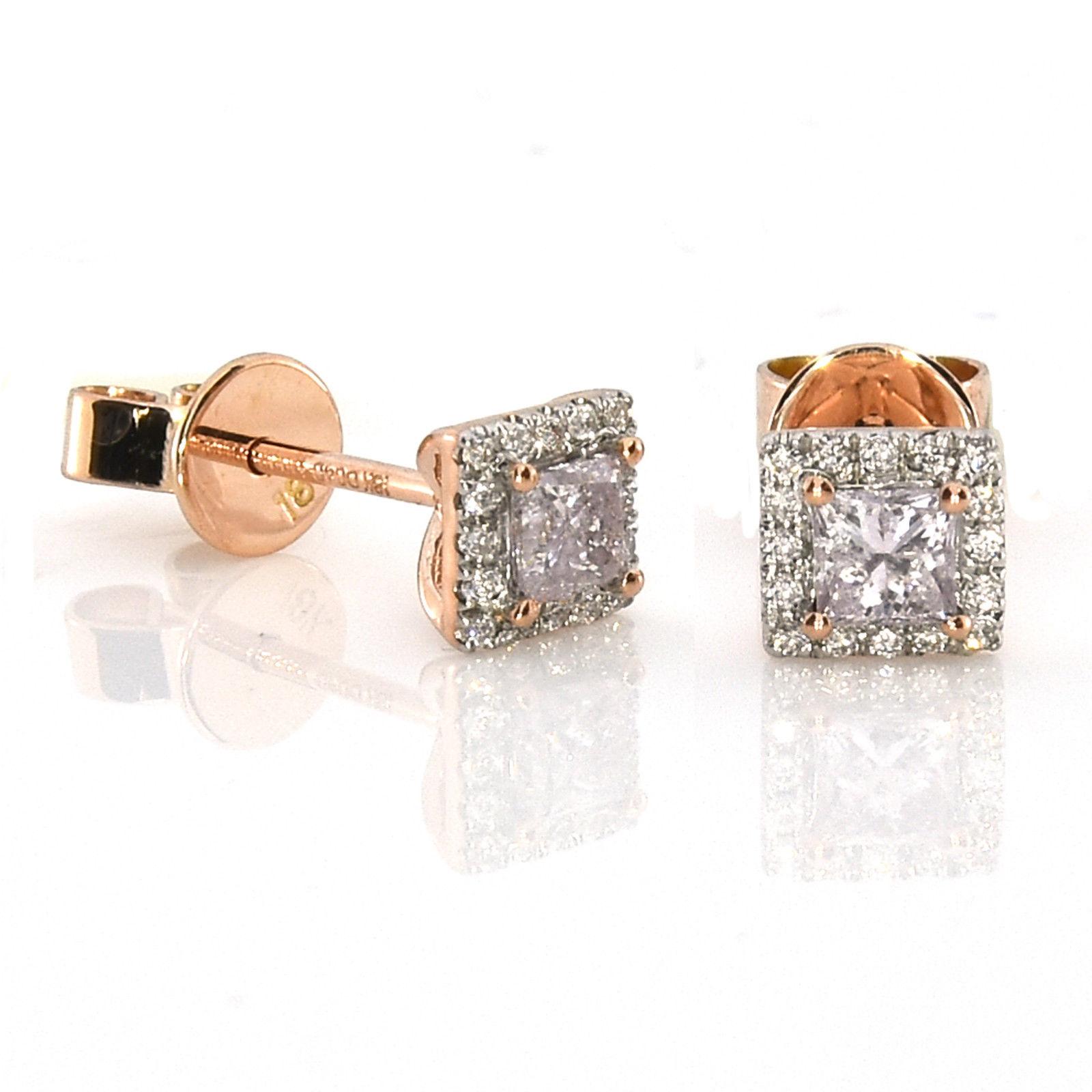 1279050db22f 0.49ct Pink Diamonds Earrings 18K All Natural Princess Cut Rose Gold VS2-SI2