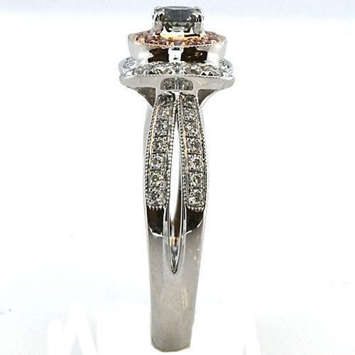 062ct Natural Fancy Green Pink Diamonds Engagement Ring GIA 18K Chameleon 253693729914 2 - 0.62ct Natural Fancy Green & Pink Diamonds Engagement Ring GIA 18K Chameleon