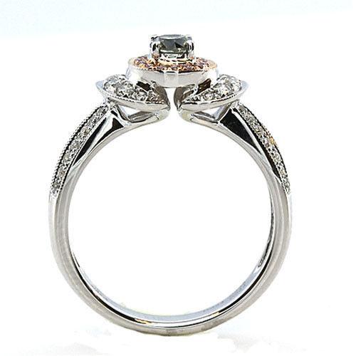 062ct Natural Fancy Green Pink Diamonds Engagement Ring GIA 18K Chameleon 253693729914 3 - 0.62ct Natural Fancy Green & Pink Diamonds Engagement Ring GIA 18K Chameleon
