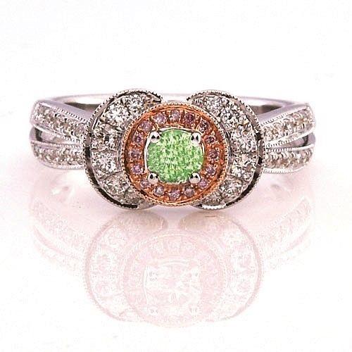 062ct Natural Fancy Green Pink Diamonds Engagement Ring GIA 18K Chameleon 253693729914 - 0.62ct Natural Fancy Green & Pink Diamonds Engagement Ring GIA 18K Chameleon