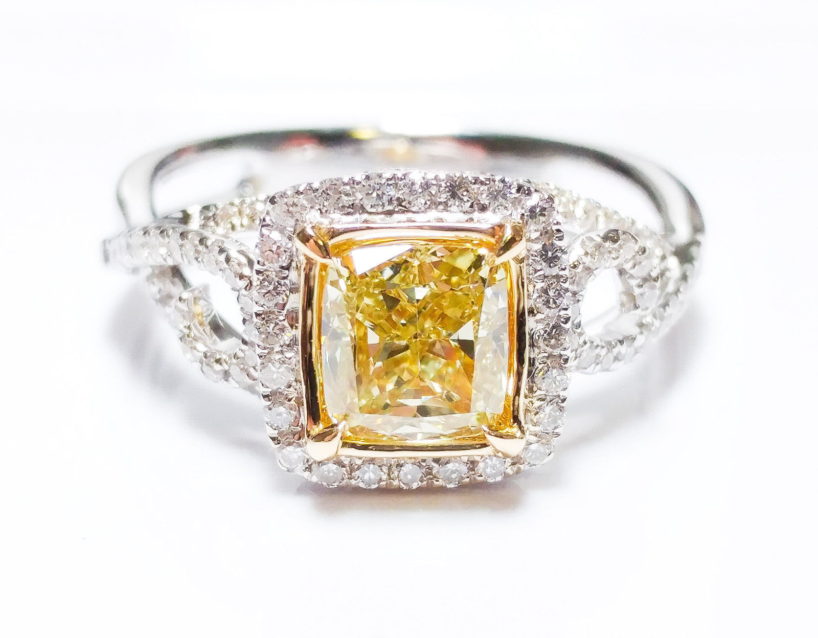 1.45ct Fancy Green Yellow Diamond GIA Engagement Ring Hallo 18K White Gold SI1