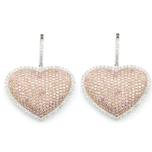 331ct Fancy Intense Pink Diamonds Earrings 18K All Natural 12 Grams White Gold 263781428884 - 3.31ct Fancy Intense Pink Diamonds Earrings 18K All Natural 12 Grams White Gold