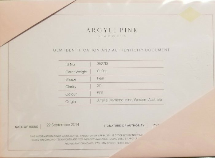 ARGYLE 019ct Pink Diamond Natural Loose Fancy Intense Pink GIA SI1 5PR Pear 264440220754 3 700x516 - ARGYLE 0.19ct Pink Diamond - Natural Loose Fancy Intense Pink GIA SI1 5PR Pear