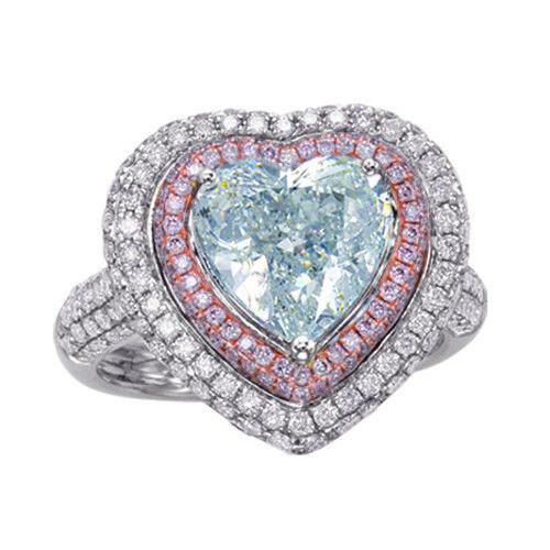 Heart 434ct Natural Faint Light Blue Pink Diamonds Engagement Ring GIA 18K 253693729984 - Heart 4.34ct Natural Faint Light Blue & Pink Diamonds Engagement Ring GIA 18K