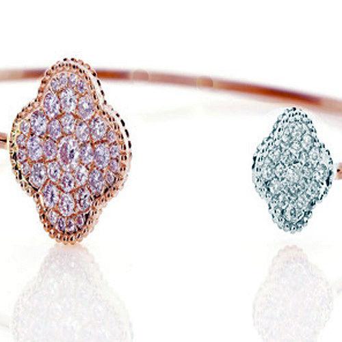 Real 020ct Natural Fancy Pink Diamonds Bracelet Bangle 18K Solid Gold 14G 263738748014 2 - Real 0.20ct Natural Fancy Pink Diamonds Bracelet Bangle 18K Solid Gold 14G