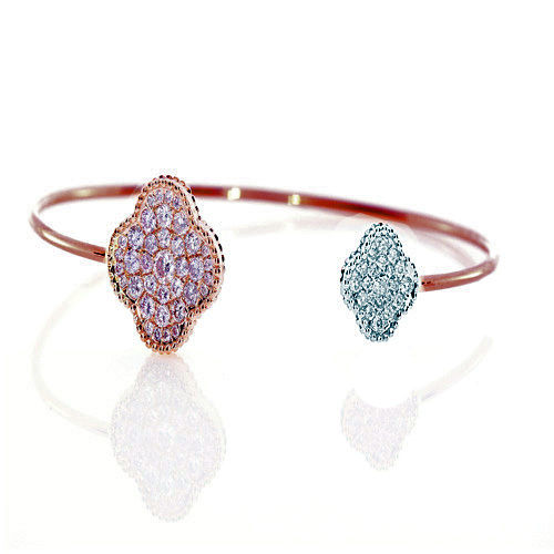 Real 020ct Natural Fancy Pink Diamonds Bracelet Bangle 18K Solid Gold 14G 263738748014 - Real 0.20ct Natural Fancy Pink Diamonds Bracelet Bangle 18K Solid Gold 14G
