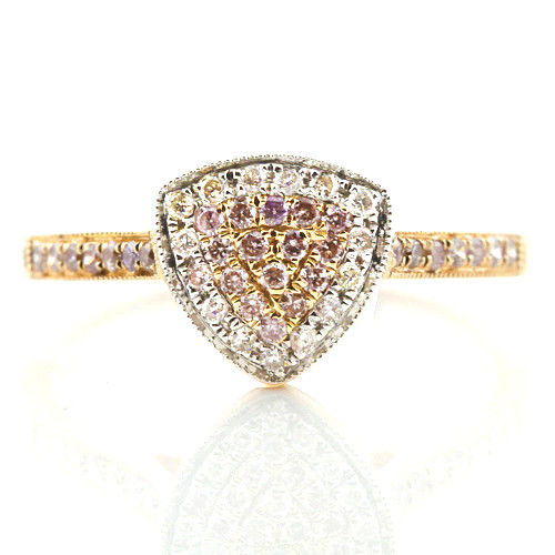 Real 050ct Natural Fancy Pink Diamonds Engagement Ring 18K Solid Gold 6G Band 253670742454 - Real 0.50ct Natural Fancy Pink Diamonds Engagement Ring 18K Solid Gold 6G Band