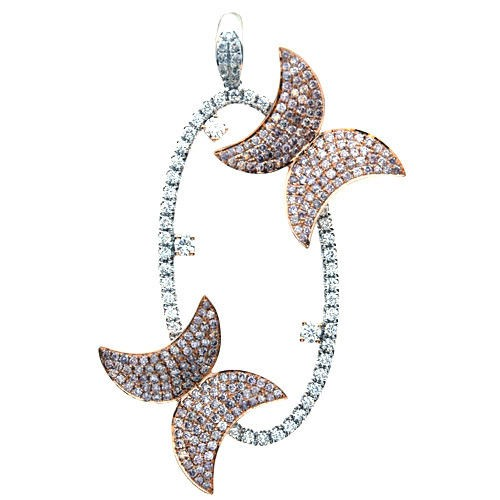 Real 211ct Natural Fancy Pink Diamonds Pendant Necklace 18K Rose Gold Butterfly 253670739994 - Real 2.11ct Natural Fancy Pink Diamonds Pendant Necklace 18K Rose Gold Butterfly