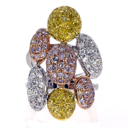 Real 244ct Natural Fancy Pink Yellow Diamonds Engagement Ring 18K Solid Gold 263744165874 2 - Real 2.44ct Natural Fancy Pink & Yellow Diamonds Engagement Ring 18K Solid Gold