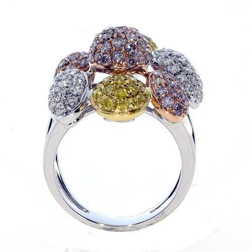 Real 244ct Natural Fancy Pink Yellow Diamonds Engagement Ring 18K Solid Gold 263744165874 - Real 2.44ct Natural Fancy Pink & Yellow Diamonds Engagement Ring 18K Solid Gold