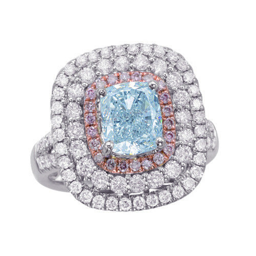 Real 273ct Natural Fancy Light Blue Pink Diamonds Engagement Ring GIA 18K 263762585594 - Real 2.73ct Natural Fancy Light Blue & Pink Diamonds Engagement Ring GIA 18K