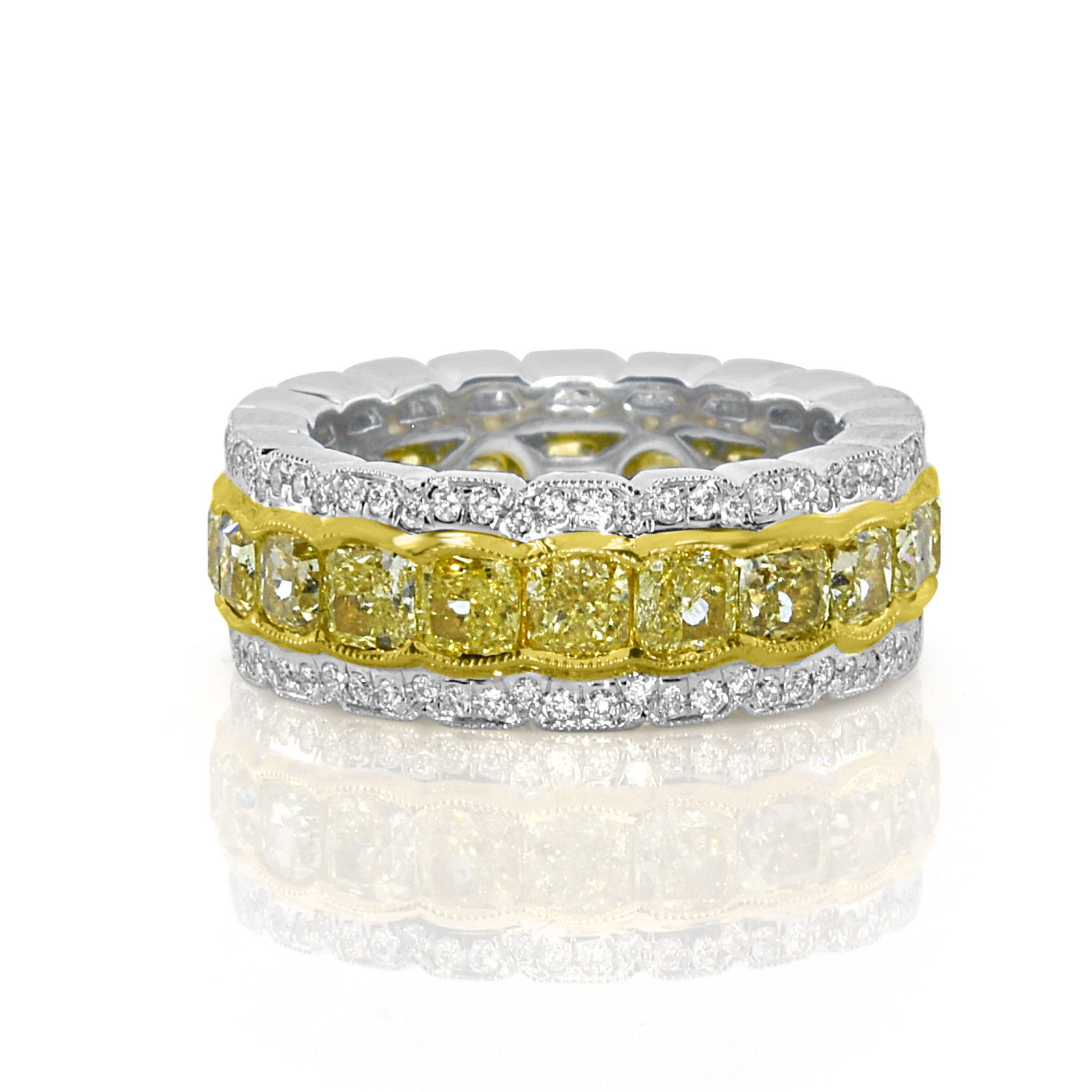 Real 6.43ct Natural Fancy Yellow Diamonds Engagement Ring 18K Solid Gold