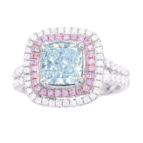 Real GIA 202ct Natural Faint Light Blue Pink Diamonds Engagement Ring 18K 263755567524 2 - Real GIA 2.02ct Natural Faint Light Blue & Pink Diamonds Engagement Ring 18K