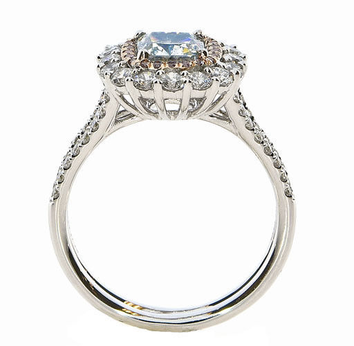Real GIA 202ct Natural Faint Light Blue Pink Diamonds Engagement Ring 18K 263755567524 5 - Real GIA 2.02ct Natural Faint Light Blue & Pink Diamonds Engagement Ring 18K