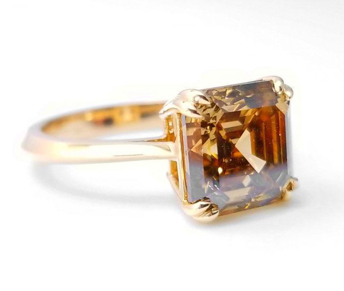 WoW 414ct Natural Fancy Orangy Brown Diamonds Engagement Ring 18K Asscher cut 253673653544 700x593 - WoW 4.14ct Natural Fancy Orangy Brown Diamonds Engagement Ring 18K Asscher cut