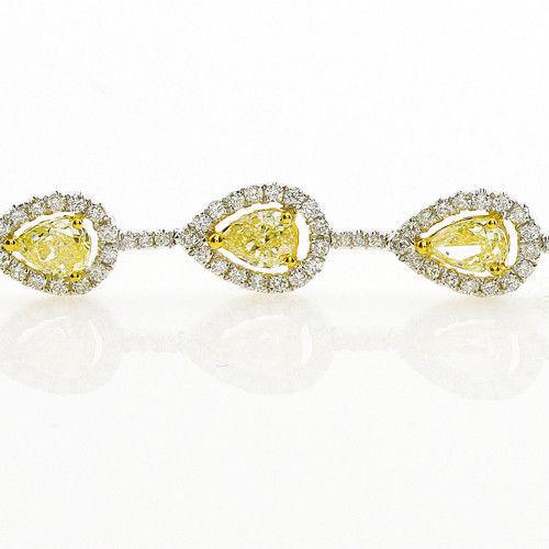 Yellow Diamonds Bracelet 635ct Natural Fancy Yellow Diamonds 18K Gold Pear 263755567544 2 - Yellow Diamonds - Bracelet 6.35ct Natural Fancy Yellow Diamonds 18K Gold Pear