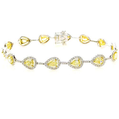 Yellow Diamonds Bracelet 635ct Natural Fancy Yellow Diamonds 18K Gold Pear 263755567544 - Yellow Diamonds - Bracelet 6.35ct Natural Fancy Yellow Diamonds 18K Gold Pear