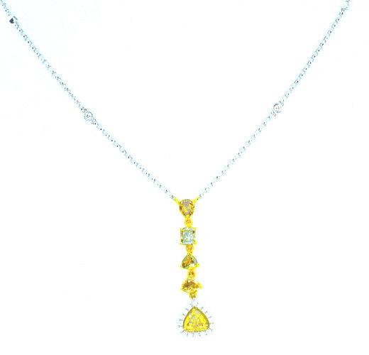 207ct Fancy Color Diamonds Necklace 18K All Natural 55G Real Rose White Gold 263781428835 2 - 2.07ct Fancy Color Diamonds Necklace 18K All Natural 5.5G Real Rose White Gold