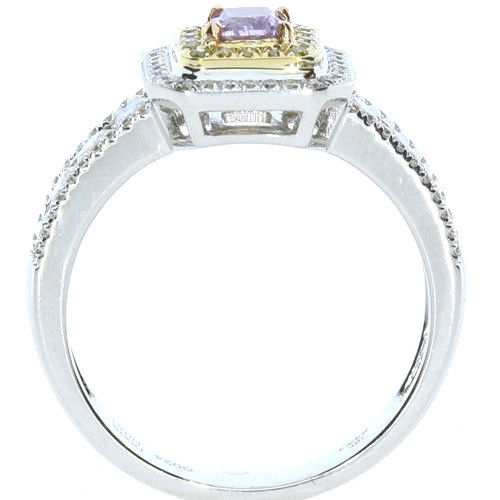 Real 106ct Natural Fancy Pink Yellow Diamonds Engagement Ring 18K Solid Gold 253693729985 3 - Real 1.06ct Natural Fancy Pink & Yellow Diamonds Engagement Ring 18K Solid Gold