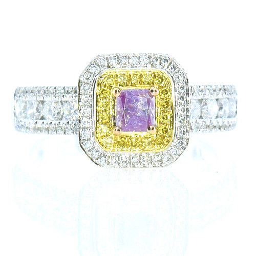 Real 106ct Natural Fancy Pink Yellow Diamonds Engagement Ring 18K Solid Gold 253693729985 - Real 1.06ct Natural Fancy Pink & Yellow Diamonds Engagement Ring 18K Solid Gold