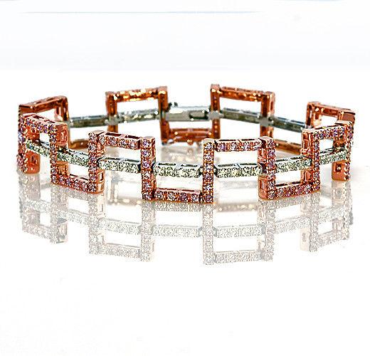 Real Pink Diamonds Bracelet 390ct Natural Fancy Pink Color 18K 25 Grams 263913095965 - Real Pink Diamonds - Bracelet 3.90ct Natural Fancy Pink Color 18K 25 Grams